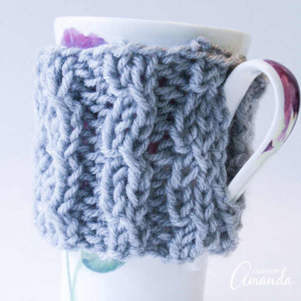 knit a simple coffee cozy