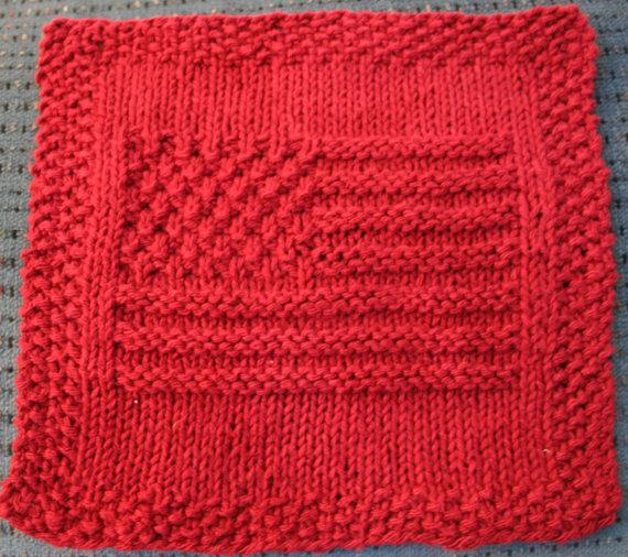 Knit American Flag Dishcloth