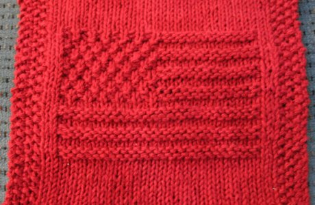 Knit American Flag Dishcloth