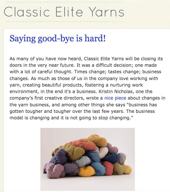 classic elite yarns closing
