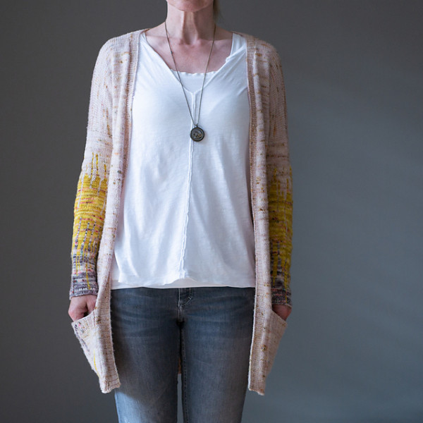 dipped arms cardigan knitting pattern
