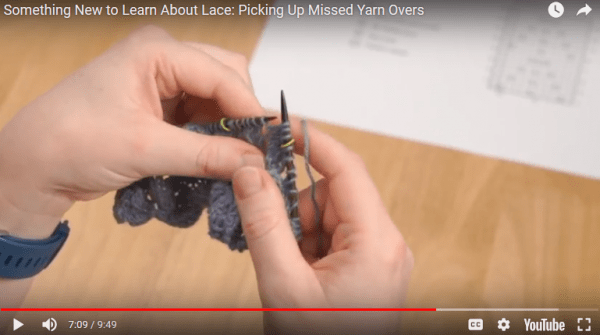 fix a missed yarn over in lace knitting