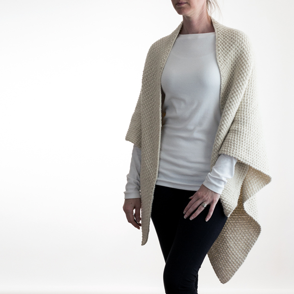 seed stitch triangle knit shawl