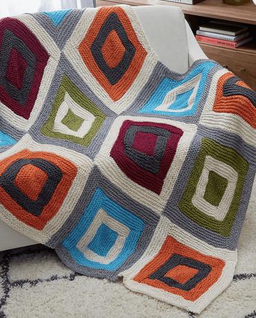 block afghan knitting pattern