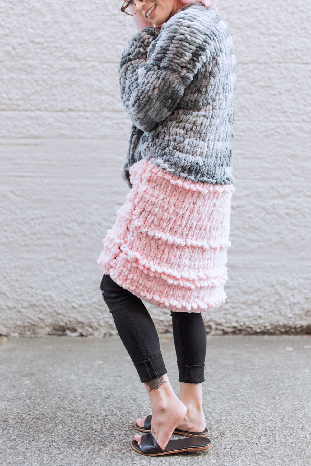 cardigan loop yarn knitting pattern
