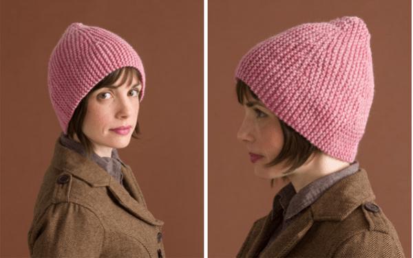 sideways garter knit hat