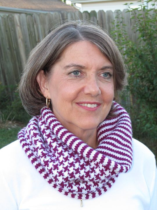 houndstooth and stripes cowl