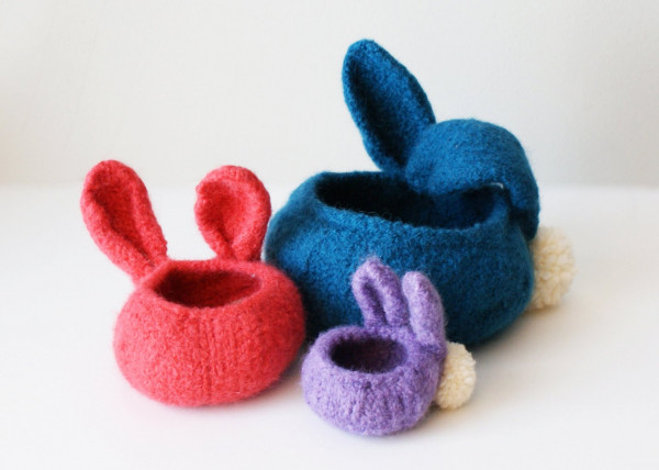 felted bunny bowls