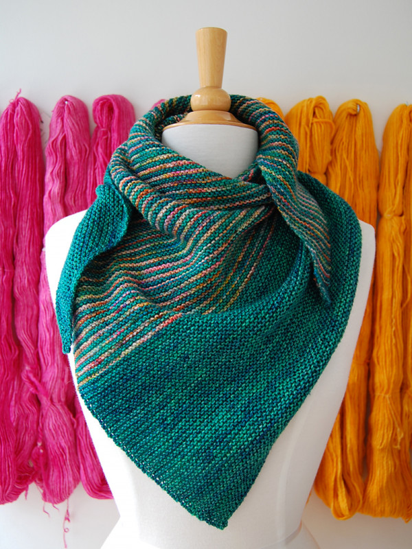 knit triangle striped shawl