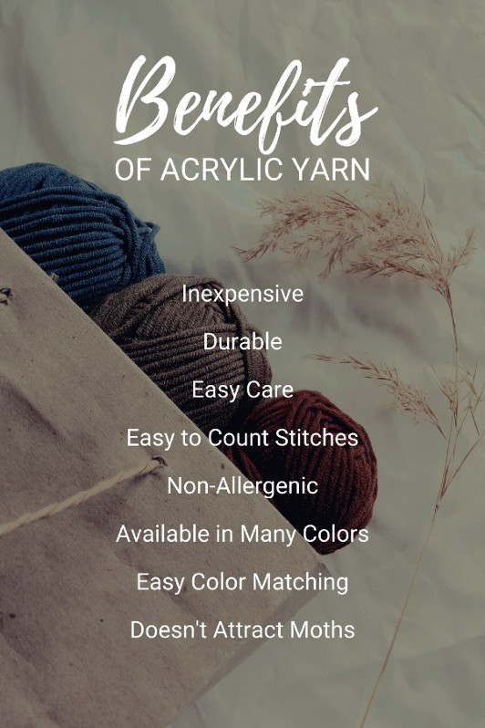 There are a number of clear benefits of acrylic yarn over other types of yarn, such as its affordability, durability, and all the colors that are available.