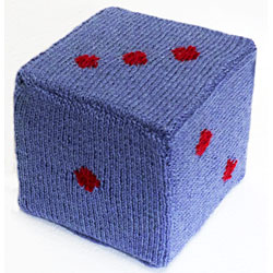 knitted dice at The Road to Knitting