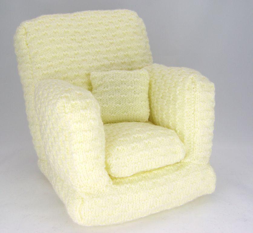 Doll or Teddy Bear Knitted Arm Chair Knitting Pattern
