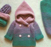 Knitted baby dress, vest, cardigan, sweater, overalls patterns (109)