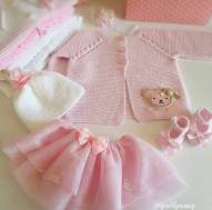Knitted baby dress, vest, cardigan, sweater, overalls patterns (743)