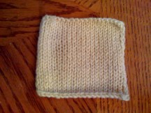 Afterwards, it lies very flat, and gets even thinner (if that's possible of stockinette stitch). Only the edges curl a bit.