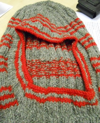 Detail of 1880s-1890s Grey and Red Striped Balaclava Knitted By Joyce Meader, Knitting History Forum Conference 2014. Photo By I N Eliatamby