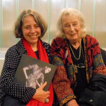 Chair Sandy Black and Co-founder and former Co-ordinator Kirstie Buckland at Knitting History Forum Conference 10th Anniversary Celebration