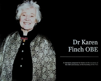 Dr Karen Finch OBE. Cover of a Textile Conservation Centre (TCC) 40th anniversary tribute volume. Photo by Kirstie Buckland.