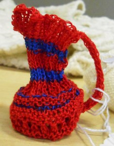 Knitted Victorian pence jug by Sally Kentfield shown at the Knitting History Forum Conference in November 2015