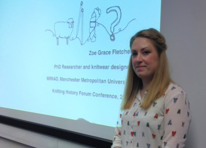 Zoe Fletcher presents a paper at the Knitting History Forum Conference in November 2015
