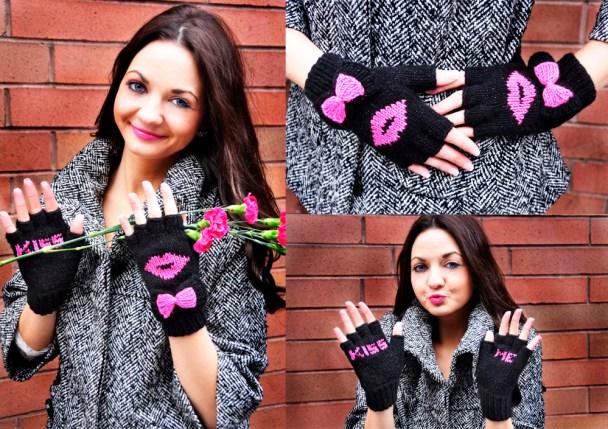 be my valentine fingerless gloves knitting pattern kiss me 5