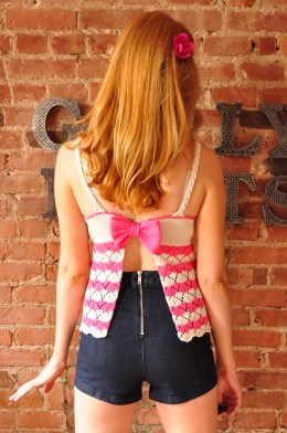 bow crazy striped chevron lace knitted tank top with open back and bow knitting pattern 5