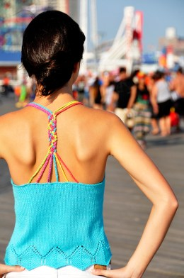 sunshine and lollipops braided strappy back knitted tank top with lace edge knitting pattern 4