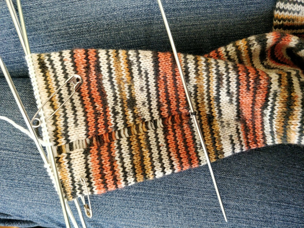 A long column of dropped stitches