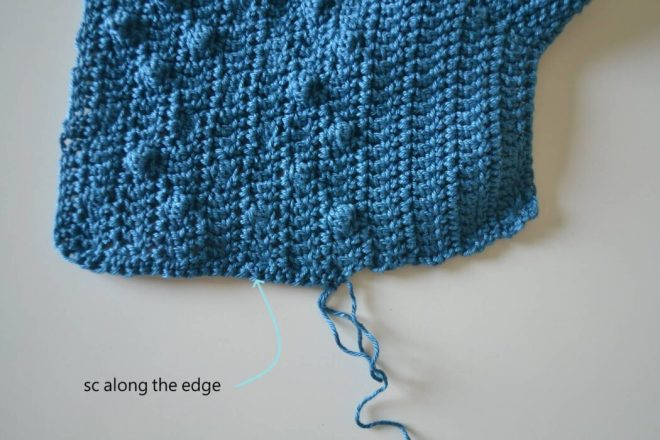 bubbly baby cardigan free crochet pattern step 10