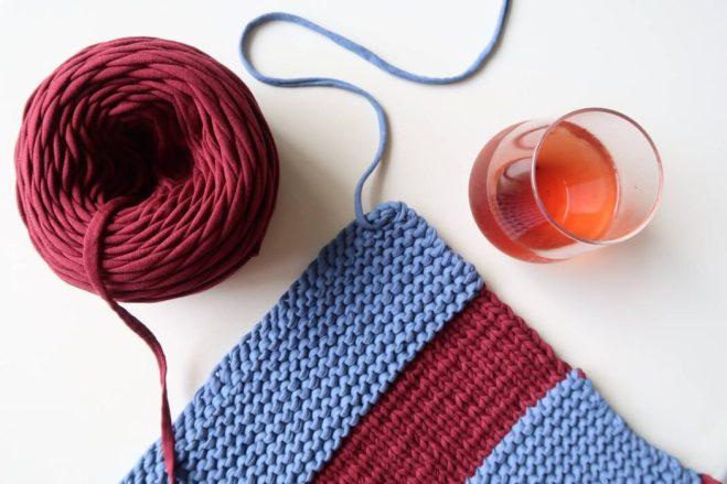 t shirt yarn rug knitting pattern wip