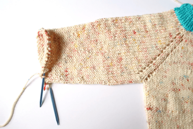 Decrease to shape the sleeves of the knit sweater pattern