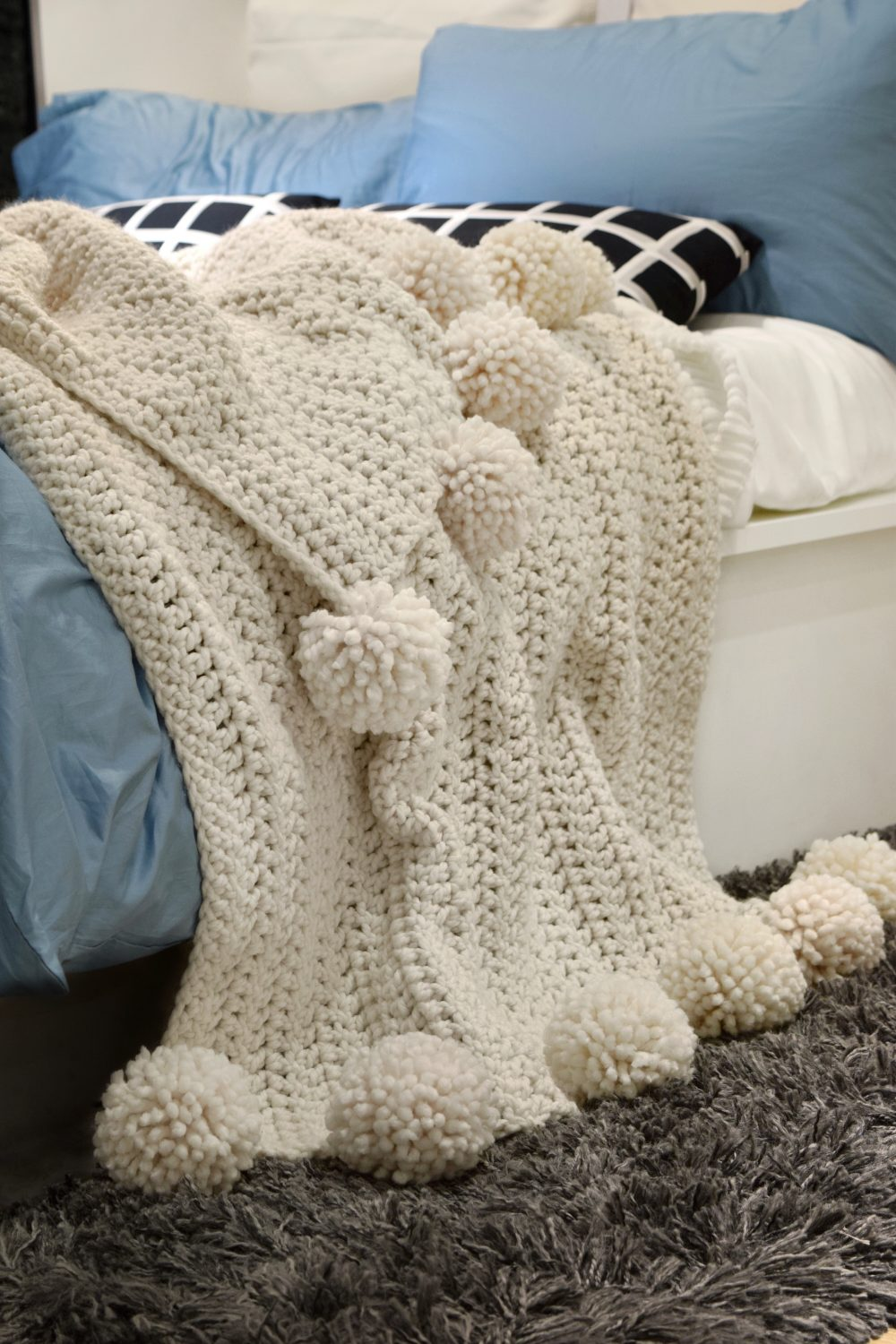 Crochet Pattern Throw Blanket Afghan With Pom Poms / Knitting ...