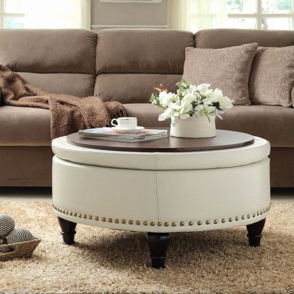 Living Room with Round Ottoman Coffee Table