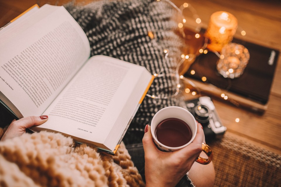 Image result for book, coffee and a snack on a table