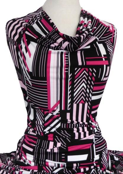 Knitwit Printed Jersey Knit Lolita Pink Black