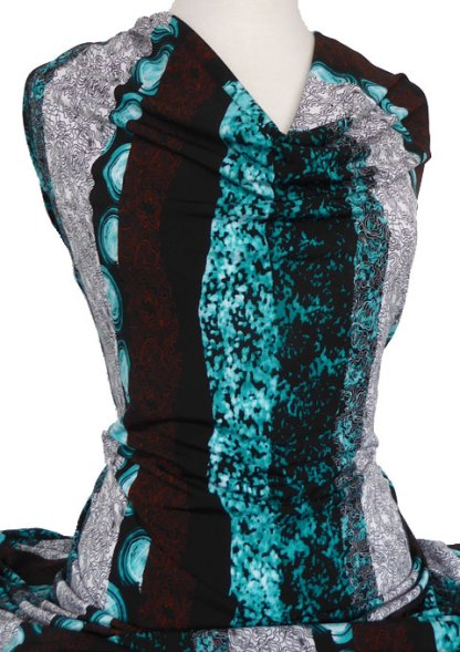Knitwit Printed Jersey Knit Blackwood Brown Turquoise