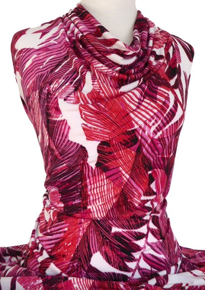 Knitwit Printed Jersey Knit Jamaica Pink