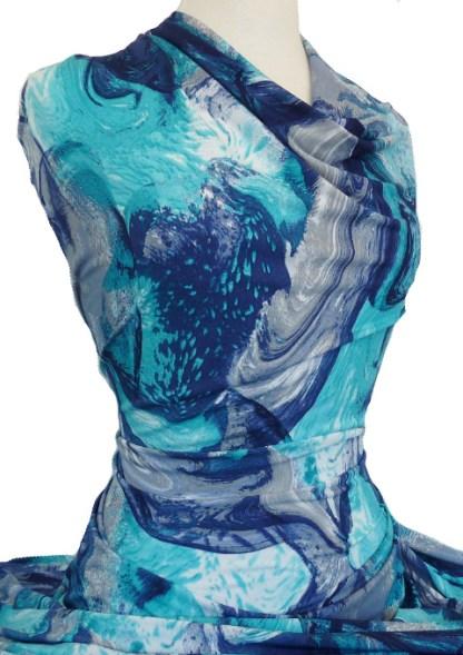 Knitwit Printed Jersey Knit Waterfall Blue