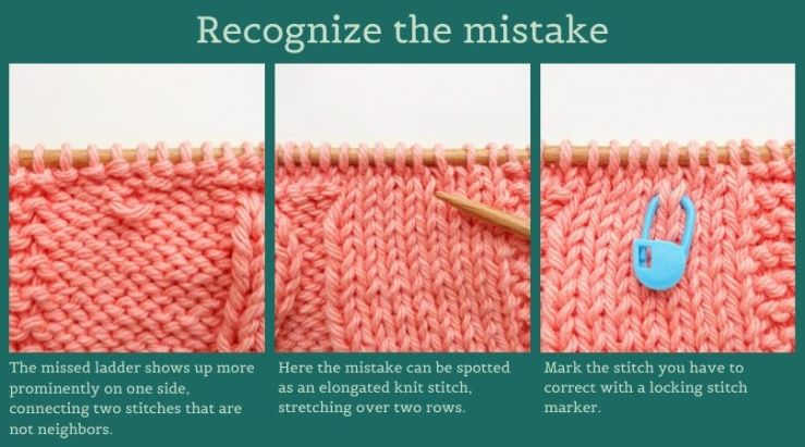 The knitting mistake missed ladder from dropped stitch seen from the right and the wrong side.