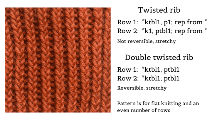 Knitting sample of twisted rib