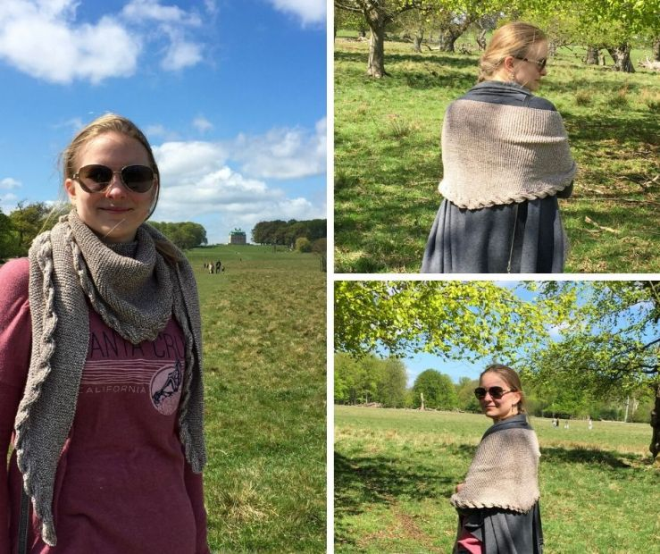 thee photos of a knitted shawl