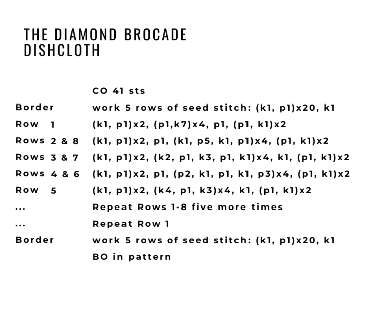 the diamond brocade dishcloth pattern