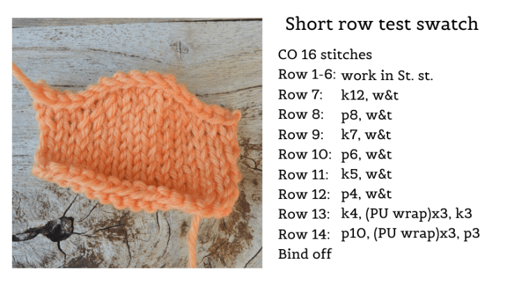 instructions for a test swatch with short rows