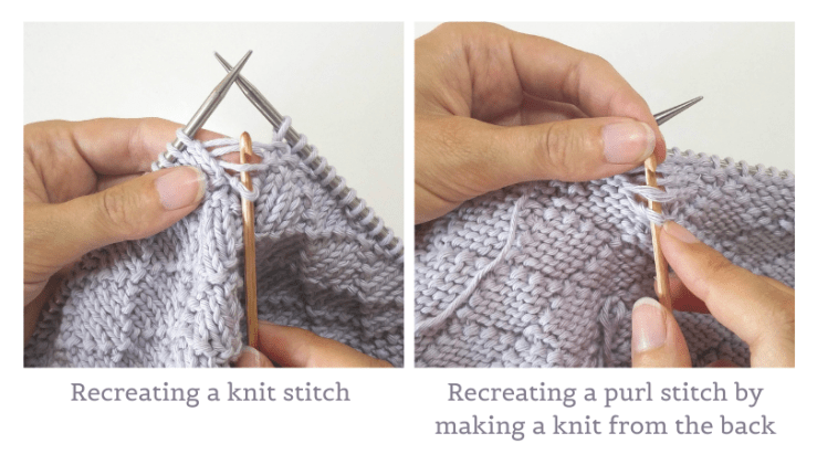 Recreating a knit stitch from the front and a purl stitch from the back of the work.