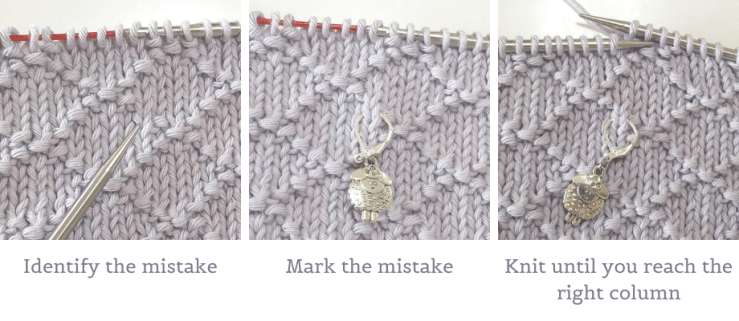 Identify the wrong stitch and mark it with a locking stitch marker then knit until you reach the right column.