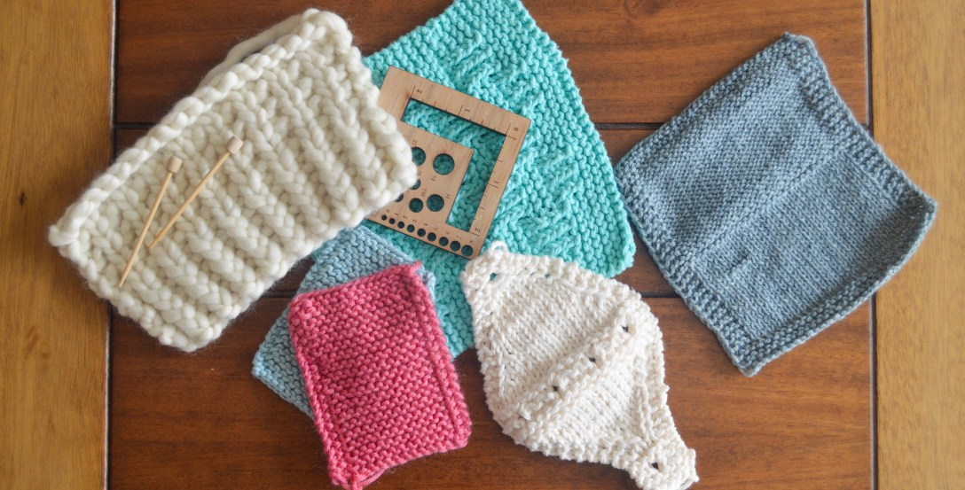 A sample of knitted swatches