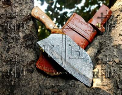 damascus steel rain drop pattern chef cleaver rose wood handle