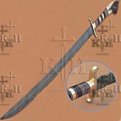 """30"""" Beautiful Damascus steel Sword With Stag Horn"""