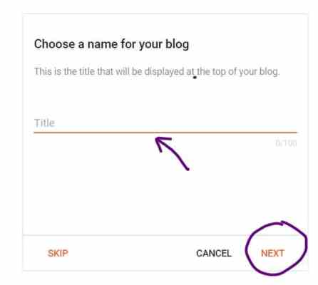 Confirm your display name to create your BlogSpot blog