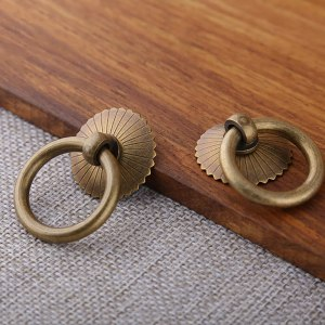 Tiazza Chinese Style Antique Brass Ring Pull Handle Kitchen Cabinets Wardrobe Drawer Furniture Hardware Retro Style Small Pull